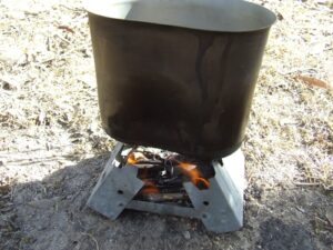 Hexamine stove camp cooking.