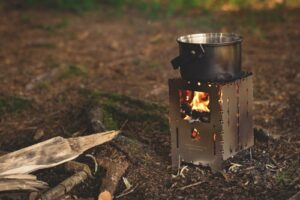 Twig stove camp cooking