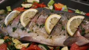 Pan fried trout camping.