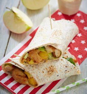 Spicy pita bread wrap camping meal.