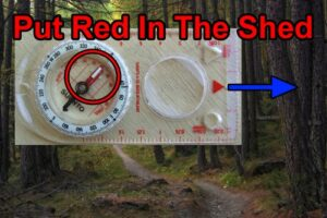 How to use a compass. Put red in the shed.