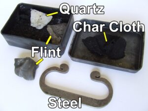 Flint and steel and char cloth.