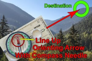 How to use a compass. Lining up orienting arrow.