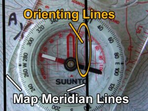Map and compass. Meridian map lines.