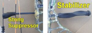 Bow stabilizer and string suppressor.