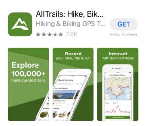 All Trails hiking app.