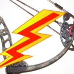 Fastest shooting bow. Picture of lightning bolt and compound bow.