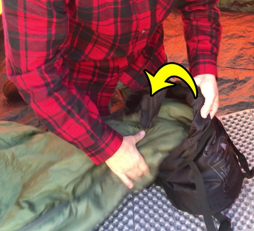 How to stuff a sleeping bag.