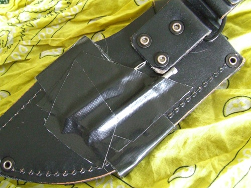Knife sheath modification for bushcraft and survival