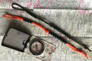 Ranger beads with map and compass.
