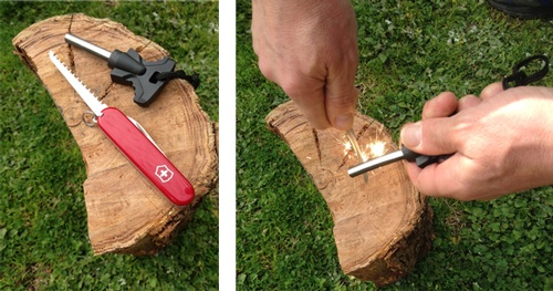 Swiss Aemy knife with ferro rod for fire lighting