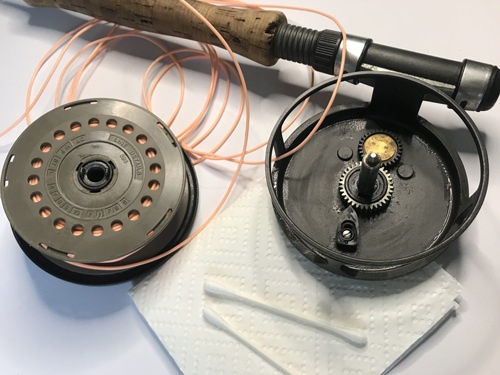 How to clean a fly reel. Reel taken apart to clean.