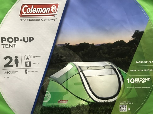 Coleman pop up two person tent