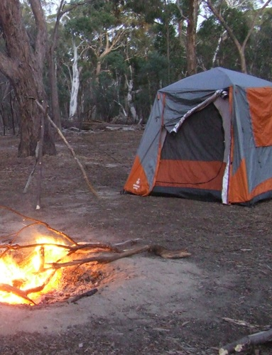 Instant tent with campfire